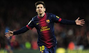 Lionel Messi celebrates after another goal.