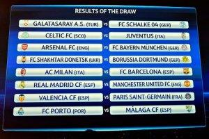 UEFA Champions Leage Last 16 draw.