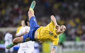 Ibrahimovic scoring his stunning overhead kick for Sweden against England.