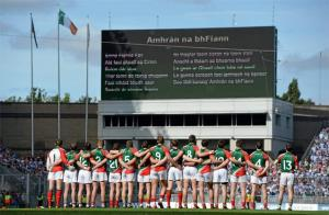 Mayo team at the anthem before taking on Dublin.