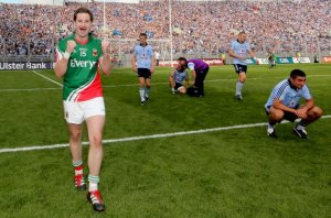 Michael Conroy celebrates after Mayo beat Dublin in the All Ireland semi final.